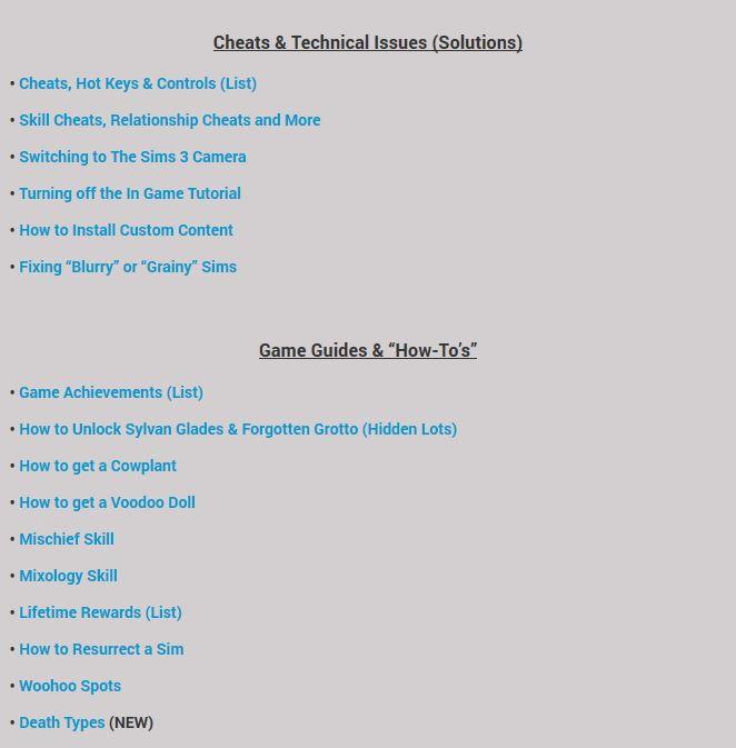Mini Game Guides at Sims Vip via Sims 4 Updates