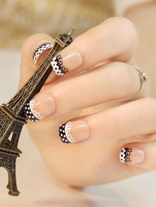 dots and lace french nail art