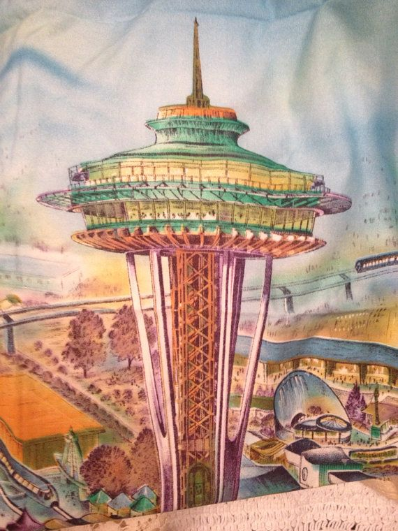 Seattle Space Needle Worlds Fair 1960 S Fabric Millworth