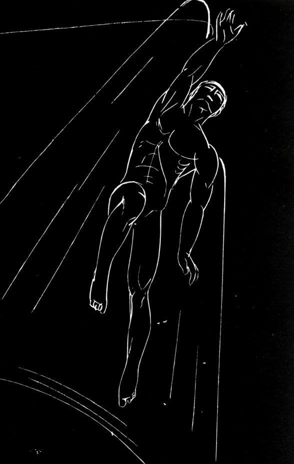 25. Иллюстрации к поэме Э. Межелайтиса 'Человек'. 1960. Ксилография. 14,3×9,4. Illustrations for E. Miezelaitis' poem Man. 1960. Wood engraving. 14.3×9.4