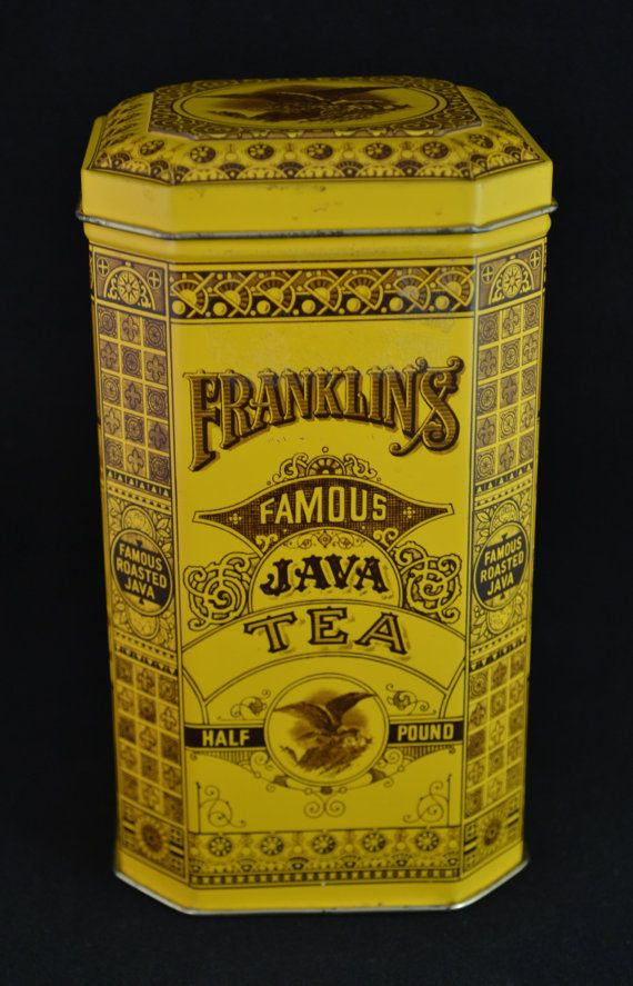 Vintage Franklin's Famous Java Tea Half Pound Original England Tin Container Restaurant Country Store Kitchen Advertising Collectable