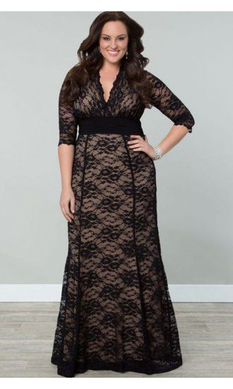 Kiyonna Screen Siren Lace Gown in Black and Nude