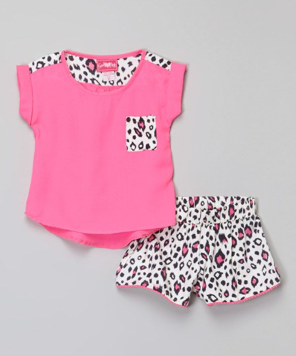 Look at this Hot Pink Top & Leopard Shorts - Toddler & Girls on #zulily today!