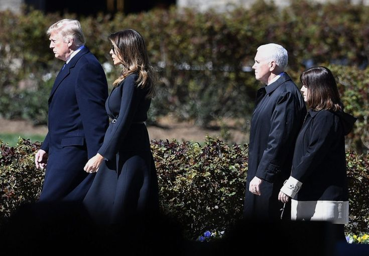 President Donald Trump and First lady Melania Trump, left, and Vice President Mike Pence, and wife Karen Pence arrive ahead of a funeral service at the Billy Graham Library for the Rev. Billy Graham, who died last week at age 99, Friday, March 2, 2018, in Charlotte, N.C. (AP Photo/Mike Stewart)  PHOTOS: President Trump and First Lady Melania Attend Billy Graham's Funeral | Breitbart