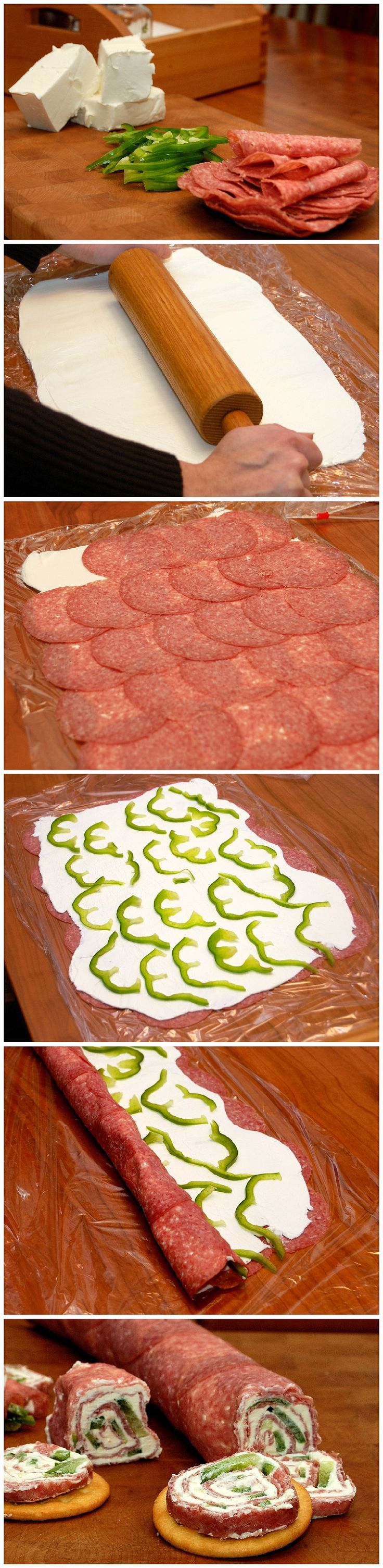 Salami and Cream Cheese Roll-ups #meat