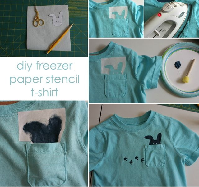 #DIY a bunny shirt for Easter! {How To Use Freezer Paper Stencils} #Easter #DIYFreezers Paper, Stencil Shirts, Easter Diy, Paper Stencils, Freezer Paper, Projects Nurseries, Bunnies Shirts, Personalized Clothing, Stencils Shirts