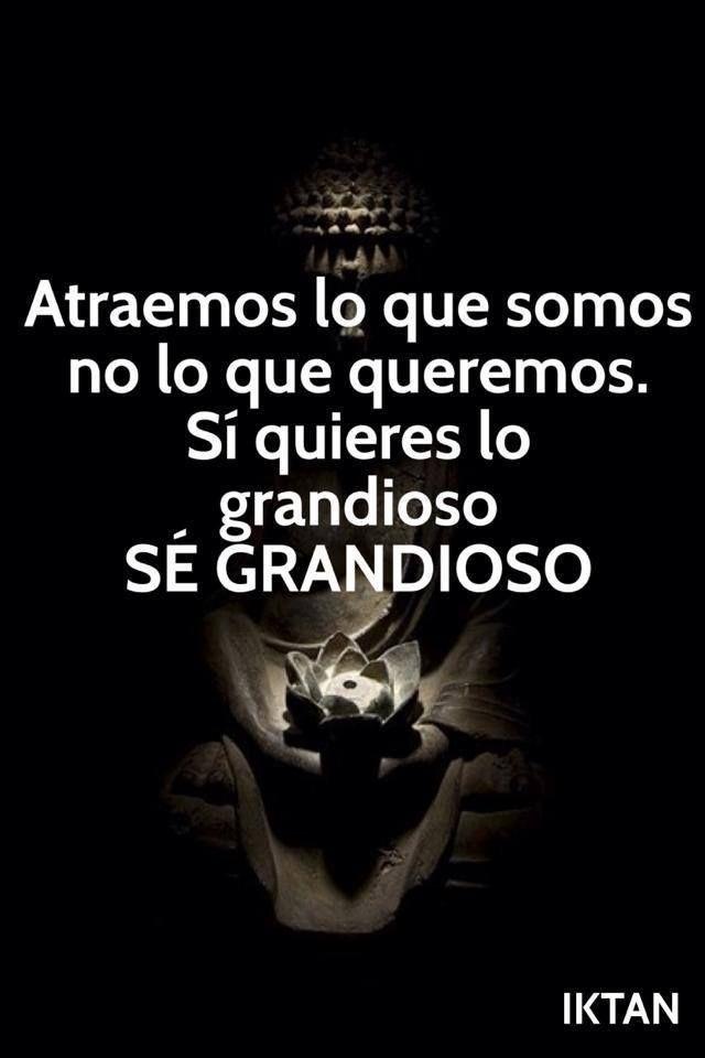 ... Atraemos lo que somos, no lo que queremos. Si quieres ser grandioso SÉ GRANDIOSO. Iktan. http://tao-sai.blogspot.com.es/2013/08/atraemos-lo-que-somos.html