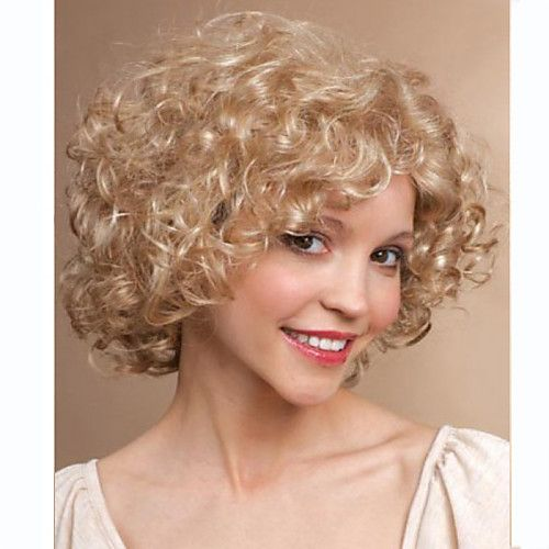 Women Synthetic Wig Short Curly Blonde Halloween Wig Carnival Wig Costume Wig 2018 - £9.48