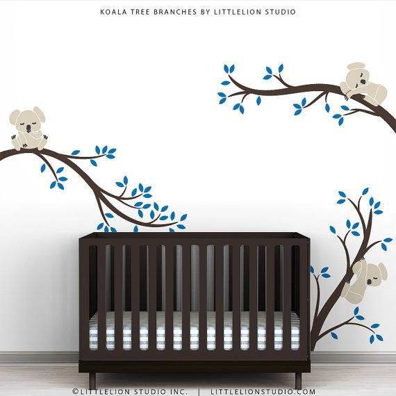 "This is what it looks like with dark brown crib and ""Azure Blue"" leaves, Koalas in ""Light Beige"".  Kids Wall Decal Tree Wall Sticker Baby Nursery Room Decor - Koala Tree Branches by LittleLion Studio"