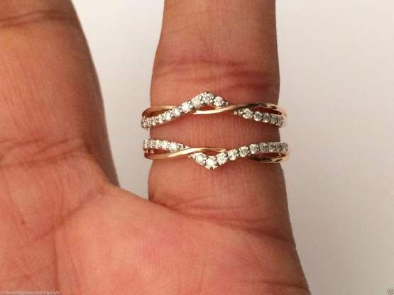 14k Rose Gold Wave Desgn Split Shank Solitaire Enhancer Diamonds Ring Guard Wrap by RG&D