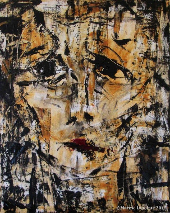 Clara Schumann – 2015 Huile/toile et collage 20 x 16 po. (51 x 40½ cm) Collection privée #claraschumann, #portrait