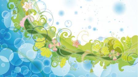 Summer Garden Abstract - green, flowers, leaves, garden, abstract, bokeh, blue, Firefox Persona theme
