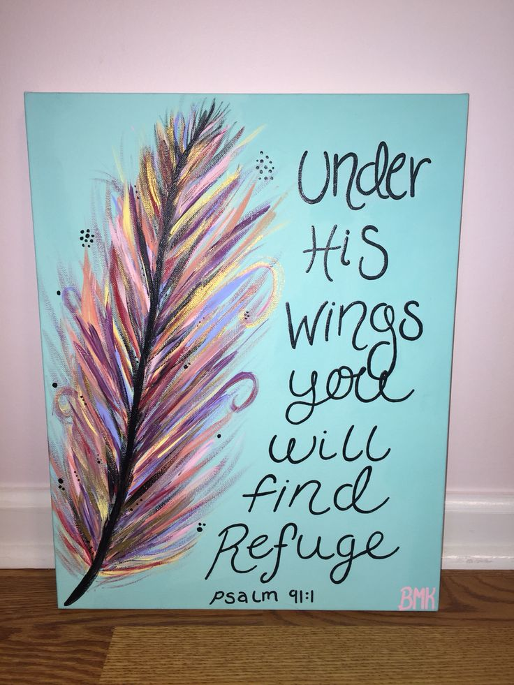 Under his wings you will find refuge - Psalm 91:1 - Multi color feather with gold teal & baby pink  {ordered by Logan Iwanek} bedroom decor bible verse canvas  Canvases for Christ BMK