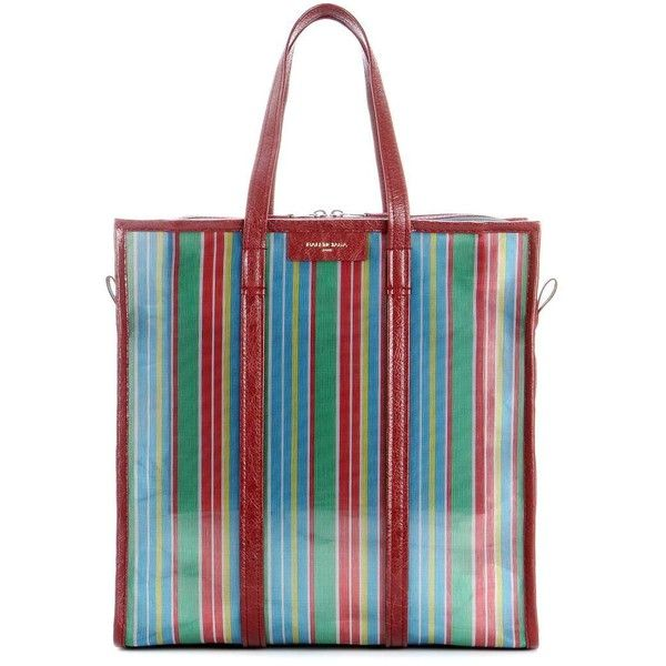 Balenciaga Bazar Medium Striped Mesh Tote (1,020 CAD) ❤ liked on Polyvore featuring bags, handbags, tote bags, multicoloured, colorful tote bags, tote handbags, balenciaga tote bag, mesh tote bags and tote purses