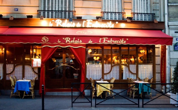 Relais de L'Entrecote.  There are a couple locations. All are first come. Expect to wait in a line.  No menu. Just steak frites. You only need tell them how well you want cooked and select a wine.