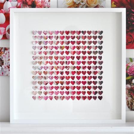 Something artictic - Sarah & Bendrix - Flower Paper Hearts, Framed Papercut, 50 x 50cm