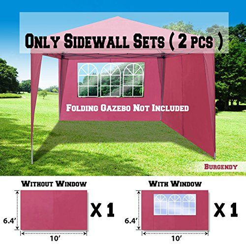 BenefitUSA Sidewalls 10X10 SIZE FOR Tent Outdoor Pop Up Canopy Gazebo Marquee 2 pcs 1 pcs with three windows the other without window Burgundy *** To view further for this item, visit the image link.Note:It is affiliate link to Amazon.