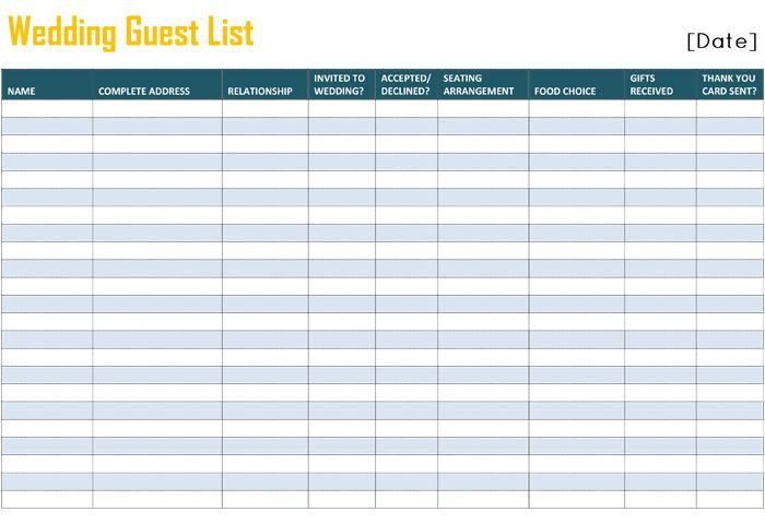 to Free Printable Wedding Guest List Template for Word and Excel Wedding Guest…