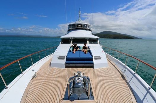 Aboard Bahama, Crystalbrook's luxury yacht - the perfect way to experience the amazing Great Barrier Reef.  ...its a tough life