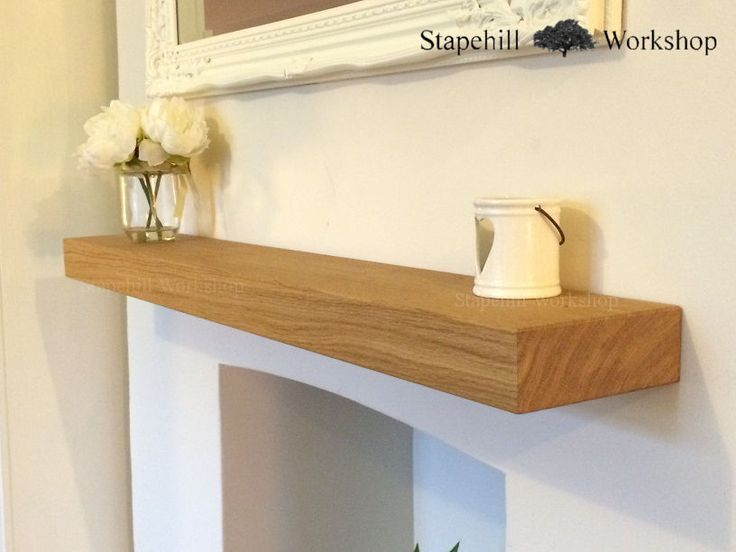 SOLID OAK FLOATING SHELVES,Shelf, 6cm Thick,17.5cm deep Mantle, Fireplace