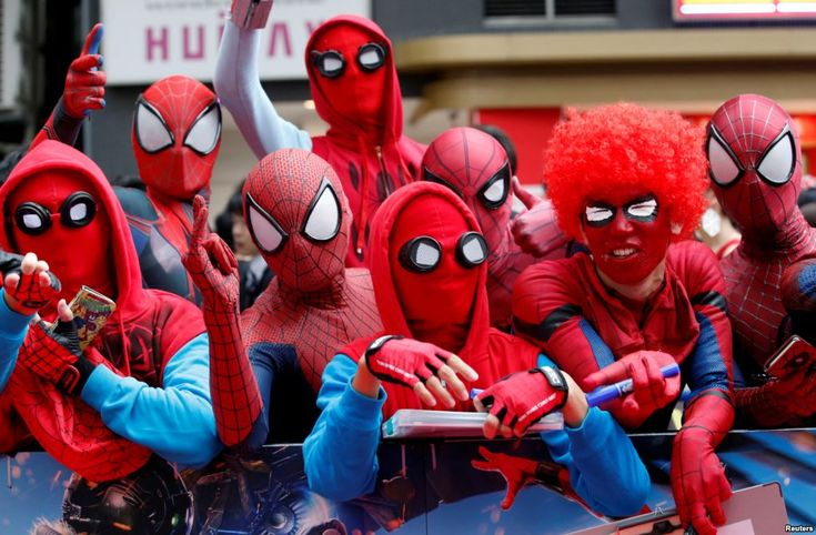 "August 7, 2017:  Fans in Spider-Man costumes wait for the arrival of cast member Tom Holland and director Jon Watts during the Japan premiere of ""Spider-Man: Homecoming"" in Tokyo, Japan."