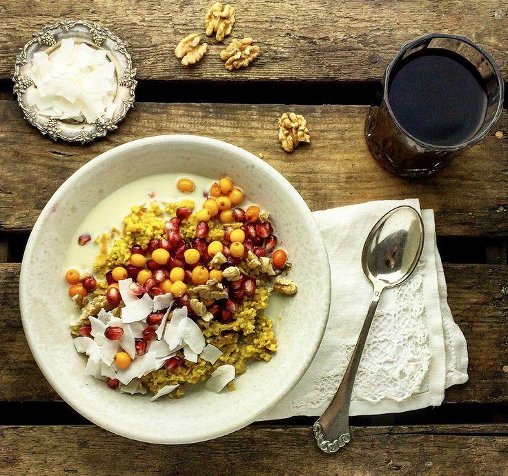 Luksus hirsegrød m/gurkemeje, kanel og kokosmælk – Mad med glød