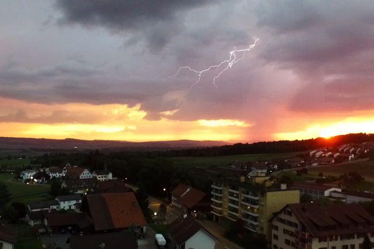 https://flic.kr/p/tXrRYw | lightning in front of a sunset