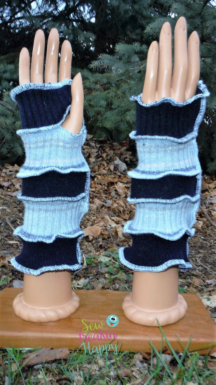 Driving texting gloves - Dark Light Blue Arm Warmers Recycled From Sweaters Driving Gloves Texting Gloves Fingerless Gloves