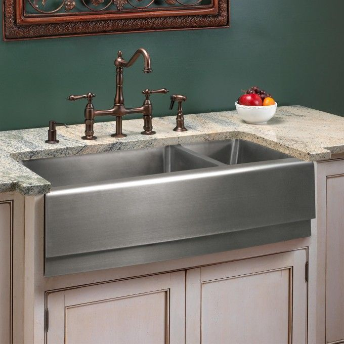 33 Piers 70 30 Offset Double Bowl Stainless Steel Farmhouse Sink Tiered Apron Apron Doubl Stainless Steel Farmhouse Sink Farmhouse Sink Rustic Furniture
