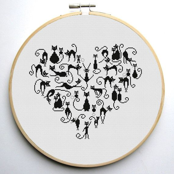 Heart and Cats 3 cross stitch pattern Instant Download PDF