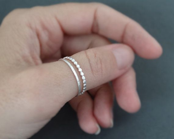 Thumb Rings set of 2 sterling silver stacking rings Beaded Wire Ring and one hammered ring