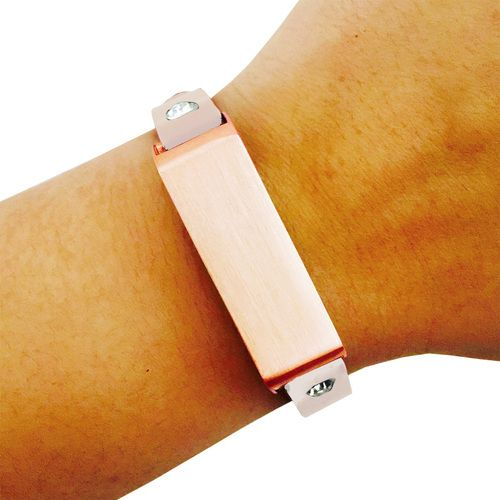 Fitbit Bracelet for FitBit Flex Fitness Trackers - The KATE Crystal Studded Single-Strap Brushed Rose Gold and Beige Premium Vegan Leather Buckle Fitbit Bracelet by Funktional Wearables