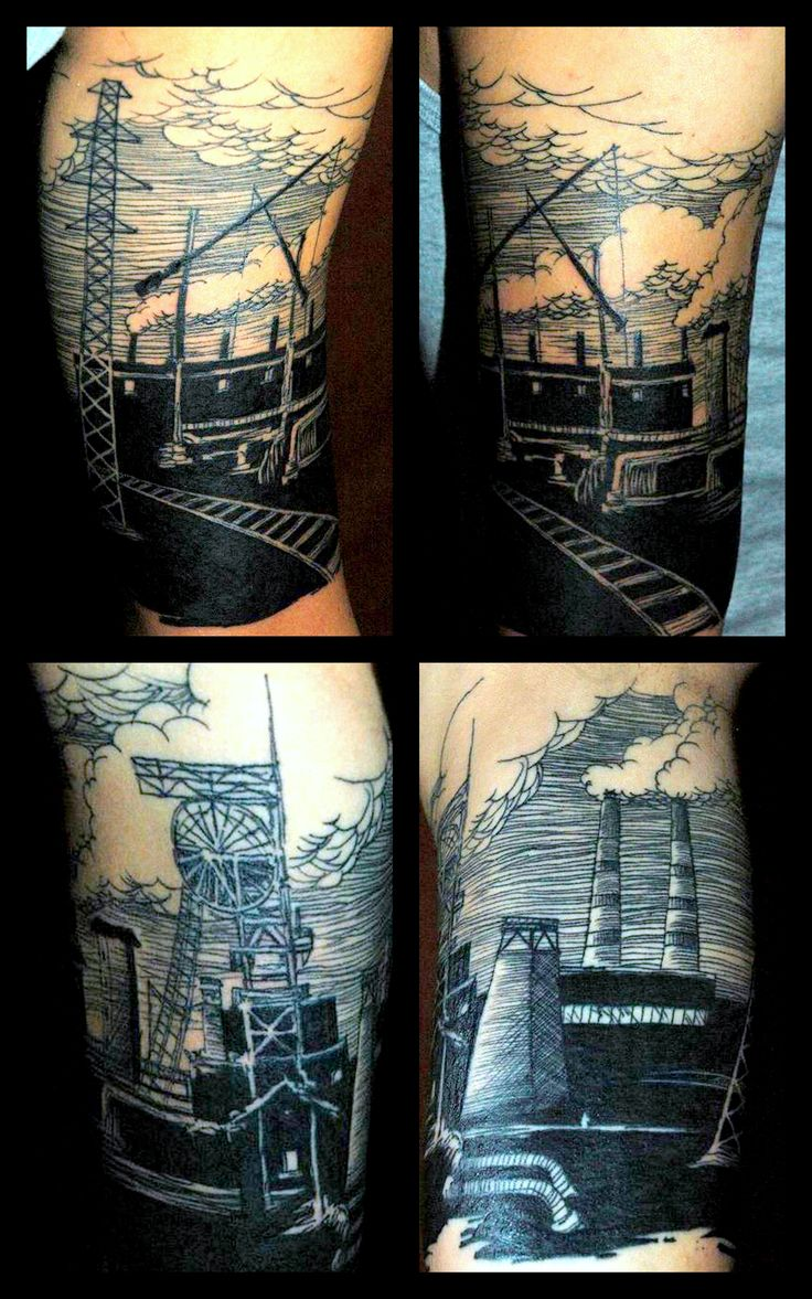 Tattoo by Piotr Wojciechowski, D3XS, Gliwice, Poland #silesia #mine #industrial #linework https://www.facebook.com/d3xs.tattoo.orchestra/photos/a.177726618929547.30925.171113032924239/293828600652681/?type=3&theater