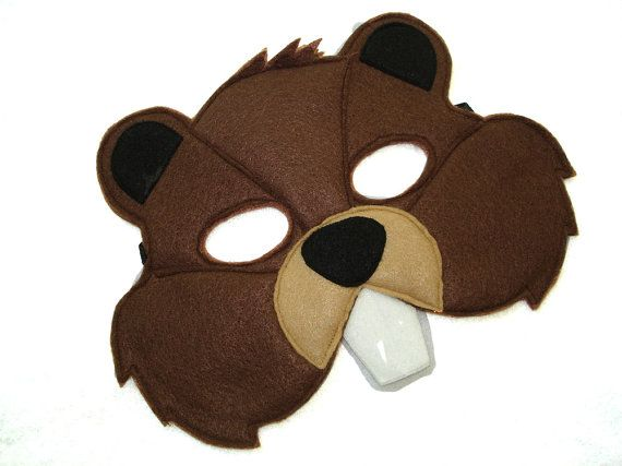 Children's BEAVER Felt Woodland Animal Mask by MagicalAttic
