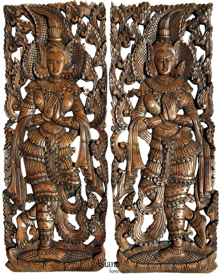 "Traditional Thai Sawaddee Figure Wall Art Panels. Asian Home Decor. Decorative Thai Wood Carving. Carved Wall Decor. Brown Finish 35.5""x13.5""x1"" Each, Set of 2 pcs"