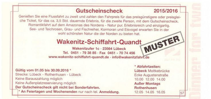Wakenitz Schiffahrt Quant Gutschein