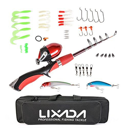 Lixada 1.4m Portable Telescopic Fishing Rod and Closed Fishing Reel Combo with Fishing Lure Jig Head Hook Barrel Swivel Box  http://fishingrodsreelsandgear.com/product/lixada-1-4m-portable-telescopic-fishing-rod-and-closed-fishing-reel-combo-with-fishing-lure-jig-head-hook-barrel-swivel-box/?attribute_pa_color=with-tackle-box  Complete Fishing Kit: Telescopic Fishing Rod + Closed Fishing Reel + Fishing Bag + Various Fishing Lures + Fishing Hooks + Some Necessary Fishing Acces