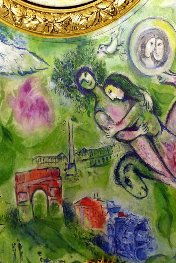 Detail of the Palais Garnier ceiling painted by Marc Chagall - Opera National de Paris