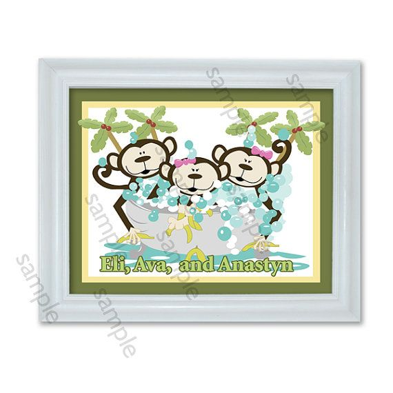 Monkey Bathroom Art Kids Monkey Bathroom Art By Allpetscherished 18 95