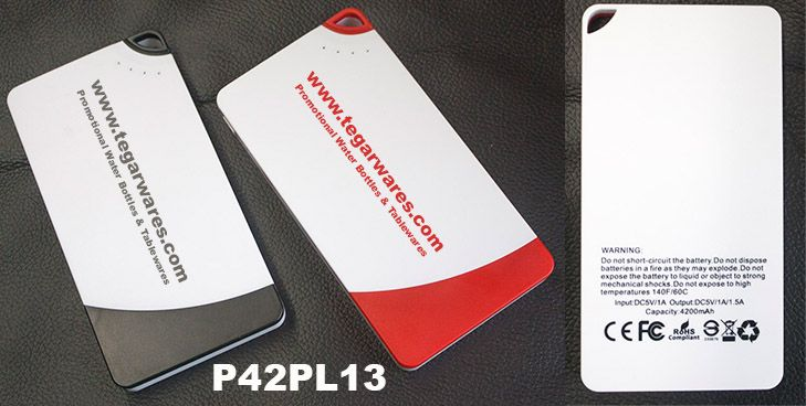 Powerbank Slim MAC P42PL13 * Material: ABS Plastic - UV Coating * Capacity: 4200mAh 3.7V- Real Capacity * Input: 5V 2A (fast charging) * 2 Outputs: Output 1 - 5V 2.1A, Output 2 - 5V 1A * LED Indicator Prize include: * 4 Connector - Micro USB, Mini USB, Nokia, Iphone 4 * Print logos and packing excluded * 1 year guarantee