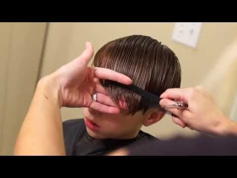 ▶ Young Justin Bieber Side Swept Haircut // how to cut boys hair - YouTube