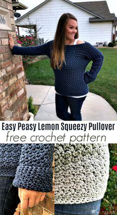Fácil Peasy Lemon Squeezy Pullover Crochet Padrão