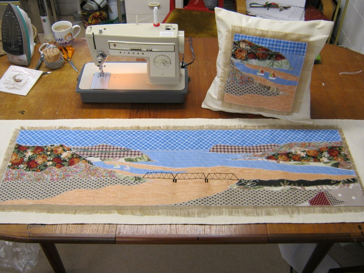 Camel estuary and matching cushion, commissioned by customer, bed runner and matching cushion.