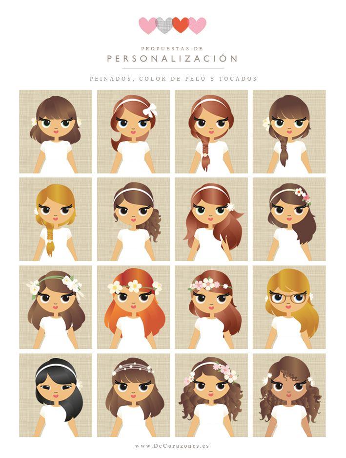 Elige uno de los peinados, color de pelo y cualquiera de los tocados para personalizar los diseños de la colección de Primera Comunión. Puedes verlos todos en: http://www.decorazones.es/comunion_recordatorios_ninas.html Pedidos: hola@decorazones.es #primeiracomunhao portugal