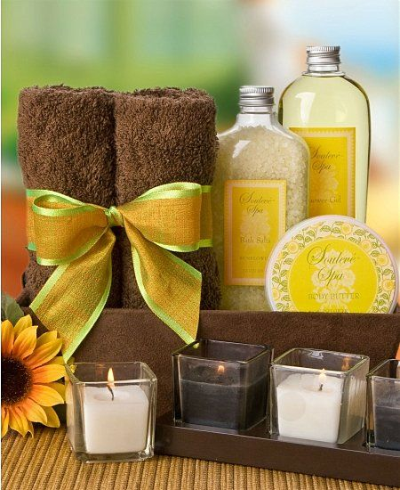 Would make a fantastic gift! Spa kit! Towels, cotton balls, a thing or two of nail polish, bath salt, scrubbers, foot scrub, maybe a few candles!