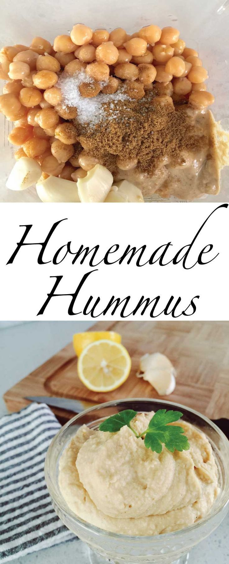 You will love this easy lemon garlic hummus recipe. Through all the ingredients into your blender and make it for snack or as a healthy appetizer. Serve with vegetables, pita bread or whole grain crackers.