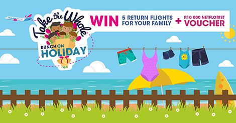 Win 5 free flights and R10 000 shopping Vouchers this December from FlySafair and Netflorist!