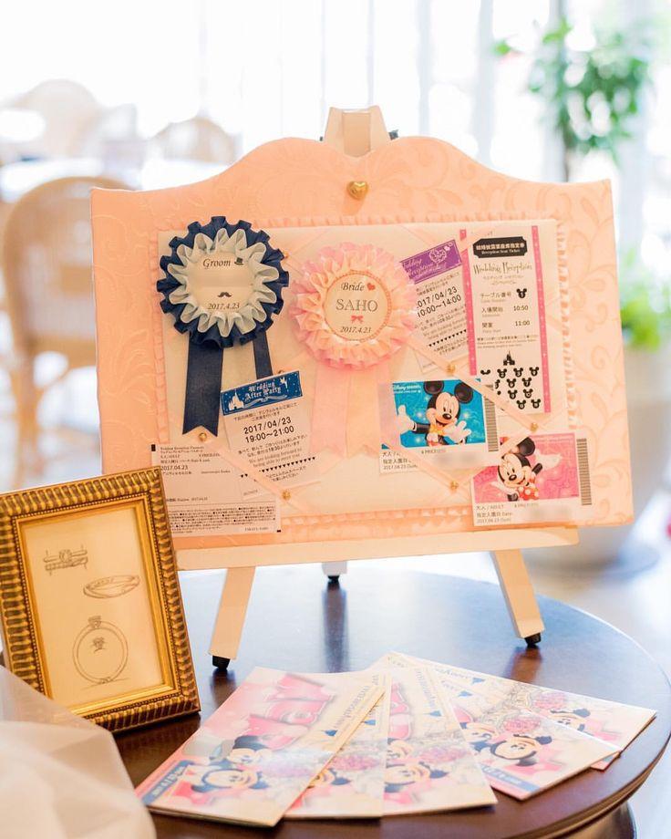 * Wedding Report〜#ウェルカムスペース〜 まとめタグ#saho_weddingrepo * 右側テーブル リボンボード・ロゼット K'unoのオーダーリングデザイン画 ディズニーパ - sa_wd_0423