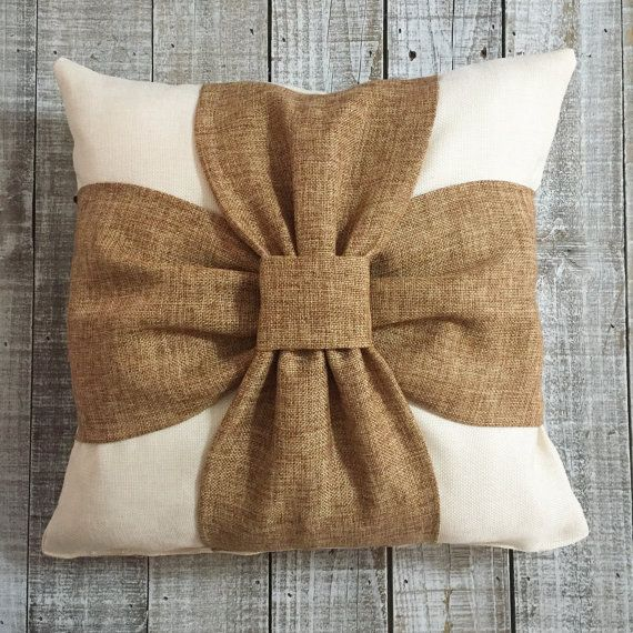 Burlap Bow Throw Pillow by SweetPsTees on Etsy