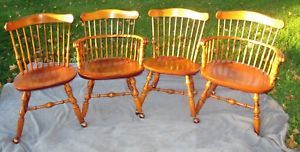 4 Vintage Maple Knuckle Arm Windsor Chairs Nichols And Stone Copper Casters